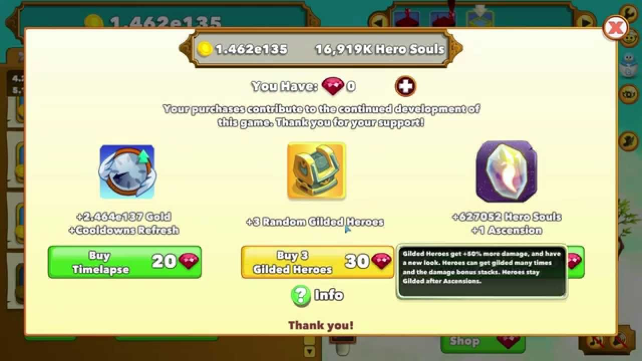 Clicker Heroes - What it's like to spend 1000 Rubies