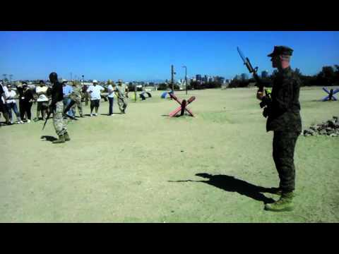 Mike Company Marine demonstrate Bayonet Assault Course for Educators