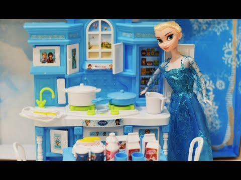 Frozen Kitchen Set Toy For Girl | Frozen Elsa Cooking Kitchen Toy Set Unboxing And Playing 2018
