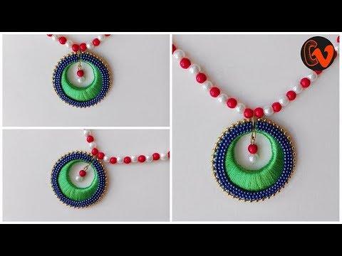 How to make chandbali silk thread necklace at home  / Silk Thread Jewellery / Tutorial