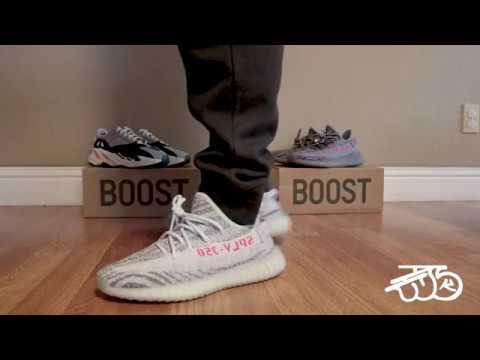60a8d9ba67793 Adidas Yeezy Boost 350 V2 Blue Tint 2017 ON FOOT - YouTube