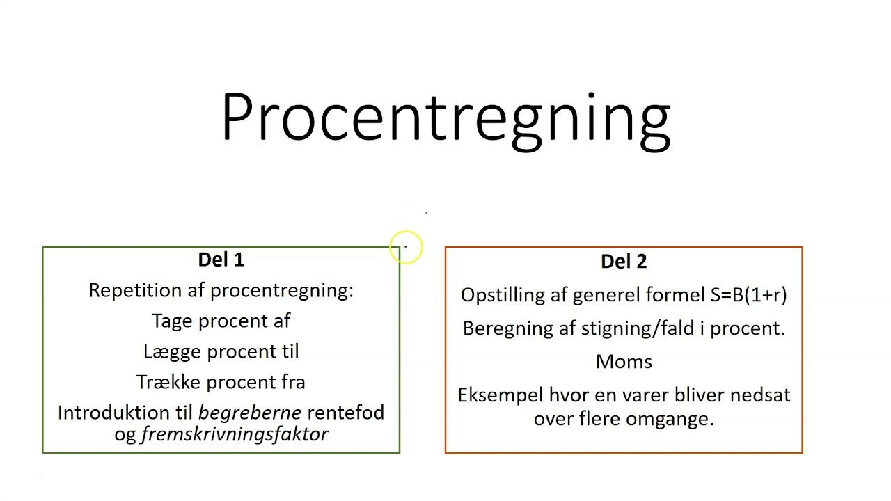 Procentregning (for EUX og HHX)