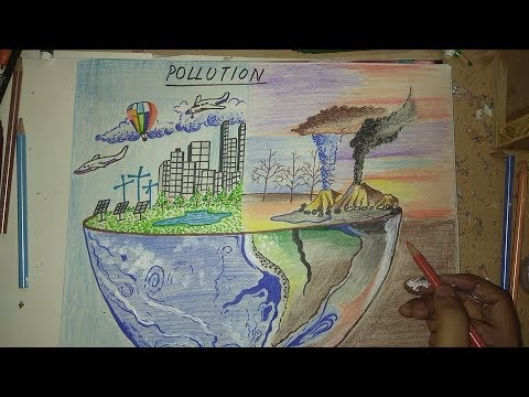 How To Draw Environment Pollution Step By Step