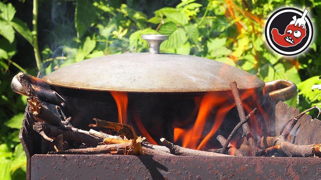 Дачный суп в казане. Можно варить и в лесу на костре.