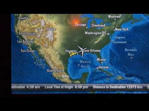 HD  In-Flight Map Qatar Airways 777-200LR Business Class AVOD Touch Screen System Boeing