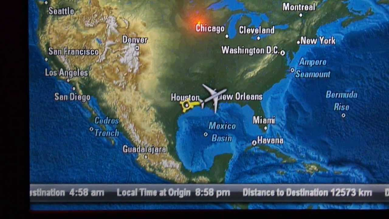 Hd In Flight Map Qatar Airways 777 200lr Business Class