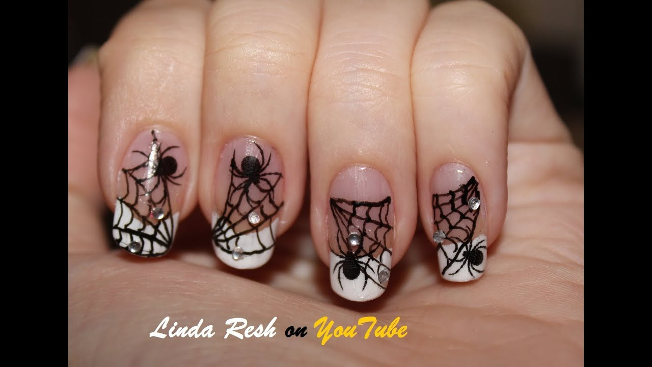 - Nail Design - Spider On Web. Nail Art Pen. Home Made Decals. - YouTube
