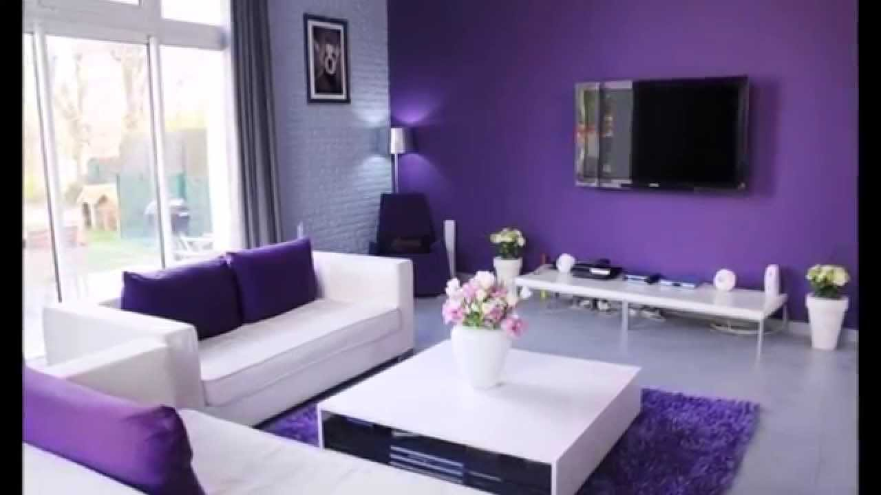 D coration salon avec des accents violets youtube - Decoration salon blanc ...