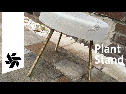 Concrete & Brass Plant Stand //  DIY how-to