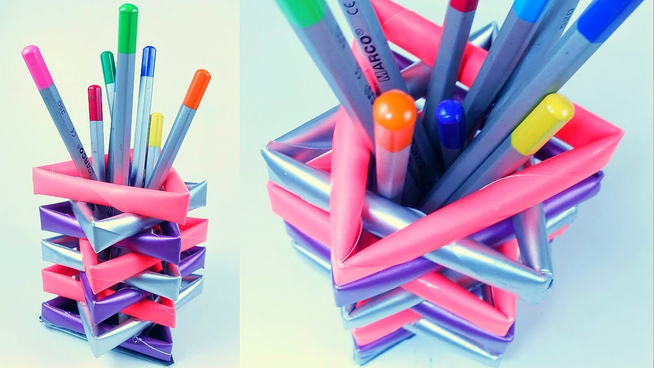 Back To School Diy Paper Pencil Holder Pen Stand From Waste
