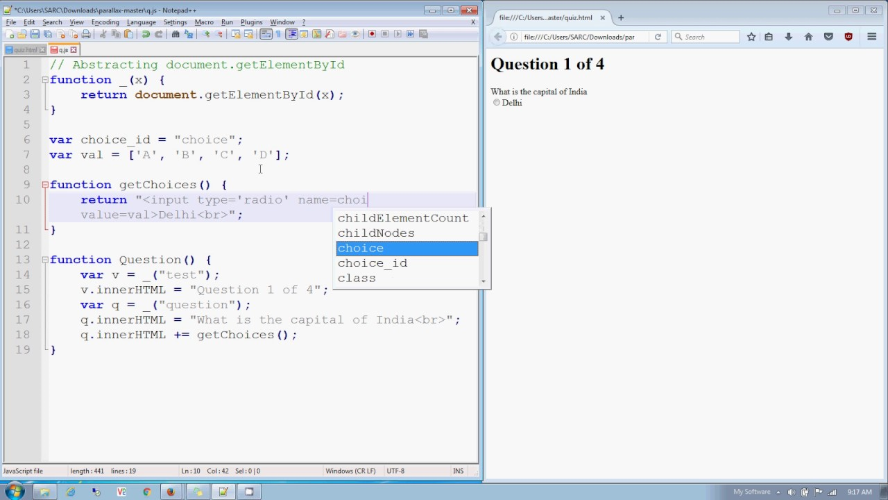 javascript adding a radio button to innerHTML (quiz: part 3) in Hindi