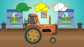 Colors Tractor - Colourful Clothes for McQueen Tractor & learn colors, cap, shirt, glasses | Kolory