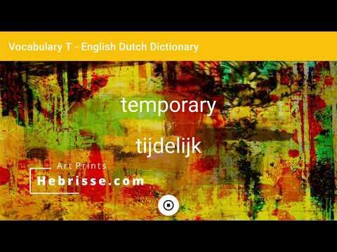 English - Dutch Dictionary - Vocabulary T
