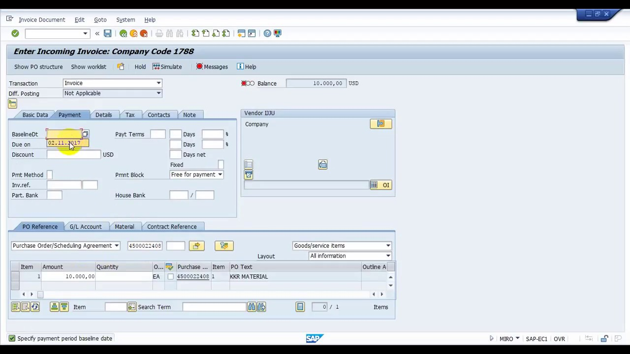 How to create Material invoice receipt order in SAP MM(MIRO)