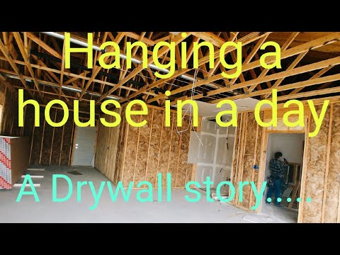 Hanging drywall, 1 house 1 day, full crew start to finish drywall hang. Work vlog
