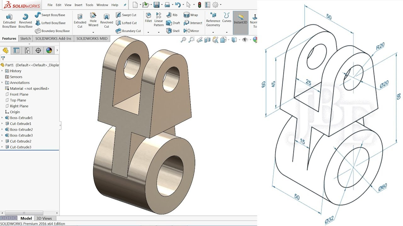Solidworks Tutorial For Beginners Exercise 13 Youtube
