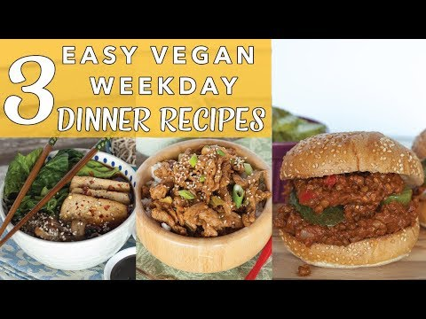 3 VEGAN DINNER RECIPES | Orange Chicken w Soy Curls | Vegan Sloppy Joes | Easy Ramen | The Edgy Veg