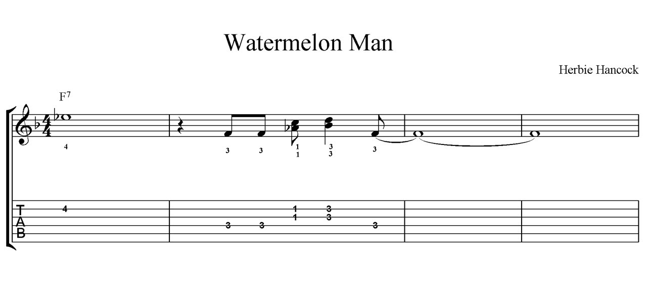 How To Play Watermelon Man On The Guitar With Score And Tab Youtube