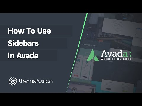 How To Use Sidebars in Avada Video