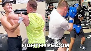 "CANELO WRESTLES & SPARS RYAN GARCIA & BROTHER SEAN; ""FOREARM TO THROAT"" FUN IN CAMP FOR CAMPBELL"