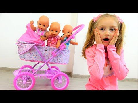 Куклы не хотят спать Полина и новая коляска Беби Борн