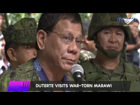 President Duterte becomes emotional as he speaks to soldiers in Marawi