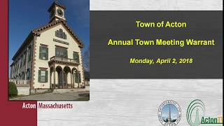 Acton, MA. Town Meeting Night One 4/2/18