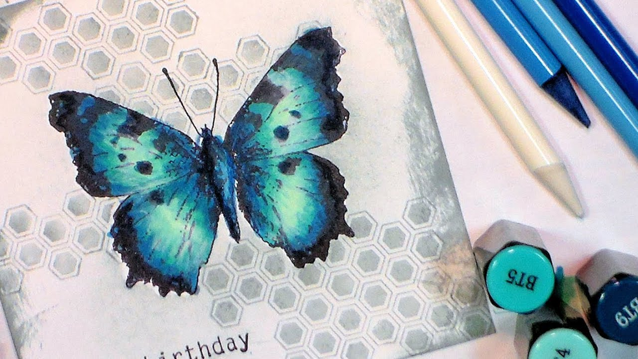 how to color a blue butterfly with spectrum noir markers youtube