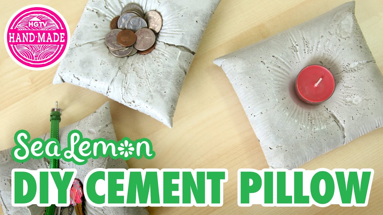 diy crafts ideas diy cement pillow with sea lemon hgtv handmade 1870