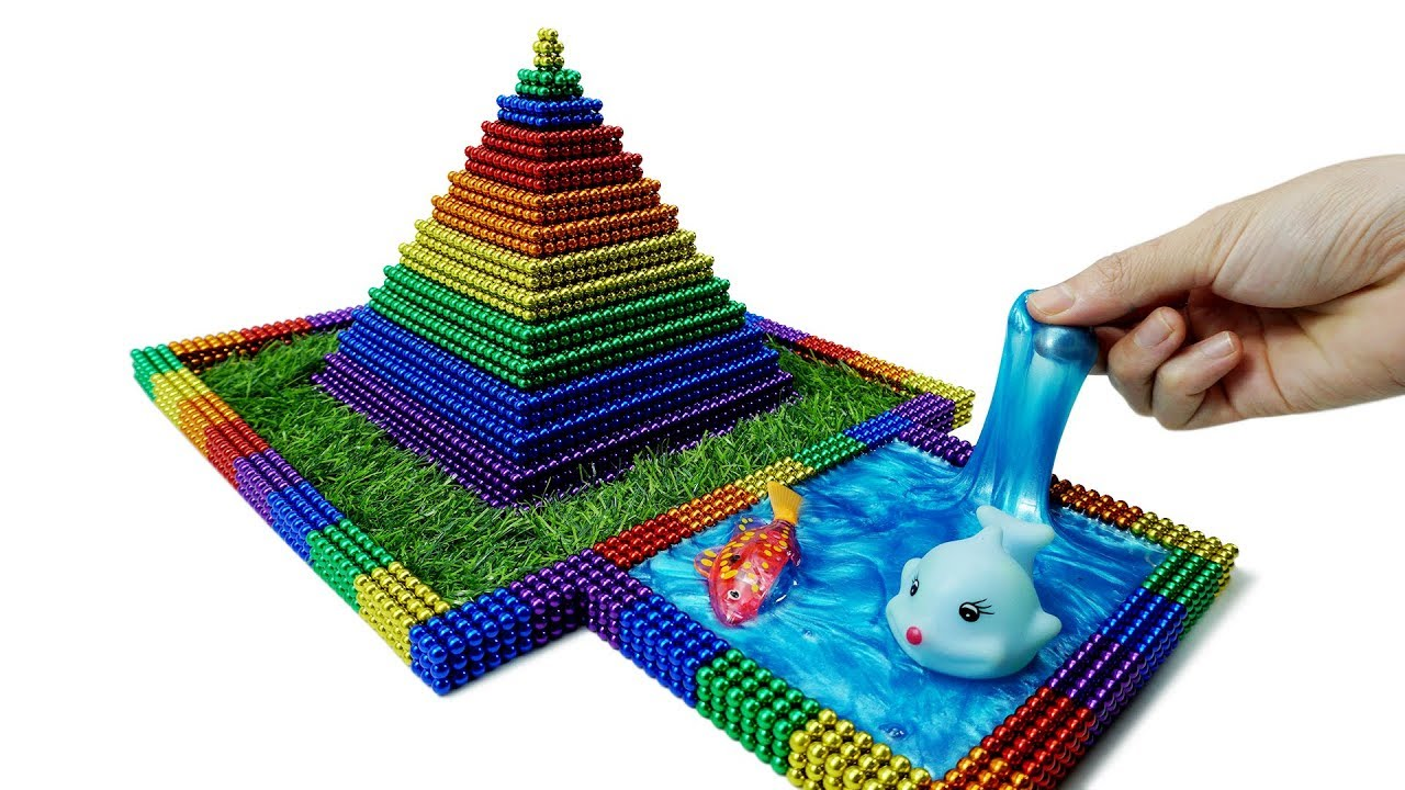 How To Build Pyramids And Fish Pool By Magnetic Balls (Satisfying) | Magnet Colorful