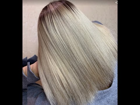 Трендовое модное окрашивание волос в СУПЕР БЛОНД с легкой холодной розовинкой, формула