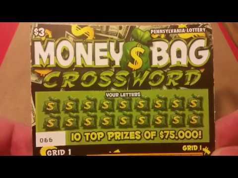BIG WINNER!! THIS SOB IS ON A LUCKY STREAK!! PA LOTTERY $3 MONEY BAG CROSSWORD
