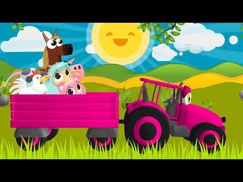 Песенки для детей   Зеленые Поля, Желтые Поля   Синий трактор и Животные Фермы