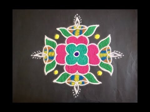 Simple Deepa Rangoli Design with Beautiful Colours & Dots 9x1 for Festivals & Competitions | Diwali