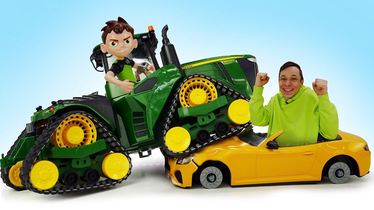 Бен 10 в видео машинки – Крутой трактор для Бен Тен! Видео игры Супергерои в Мастерской Фёдора
