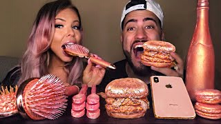 ASMR ROSE GOLD EDIBLE CHAMPAGNE BOTTLE, HAIRBRUSH, SPOONS, IPHONE X, ROSE GOLD BURGER MUKBANG 먹방