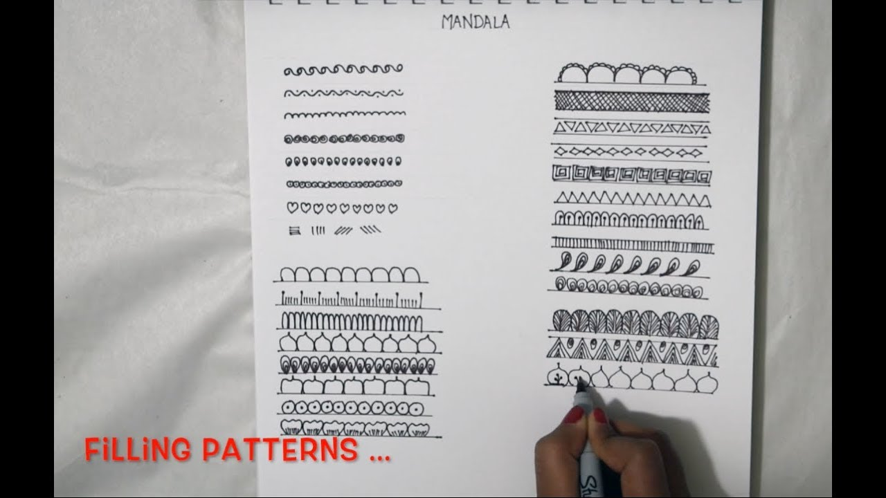 Learn how to draw Mandala | Basic Shapes n Filling Patterns | Doodles