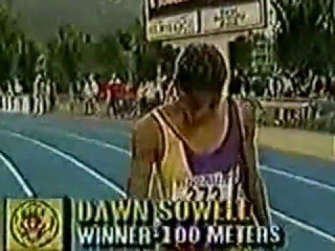 Dawn Sowell 10.78 A Collegiate Record CR SR Esther Jones 11.12A PB Onyali 11.14A PB NCAA Provo 1989