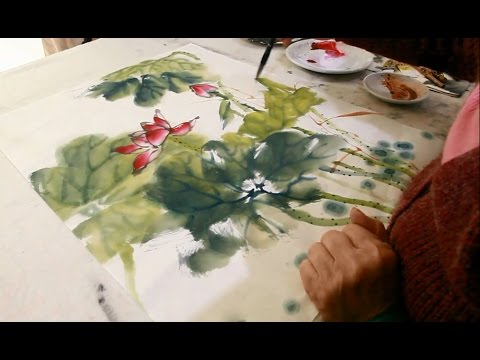 How To Paint Lotus Painting In Chinese Watercolor Youtube
