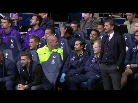 Tim Sherwood pulls fan out of the stand to take his place on the bench!