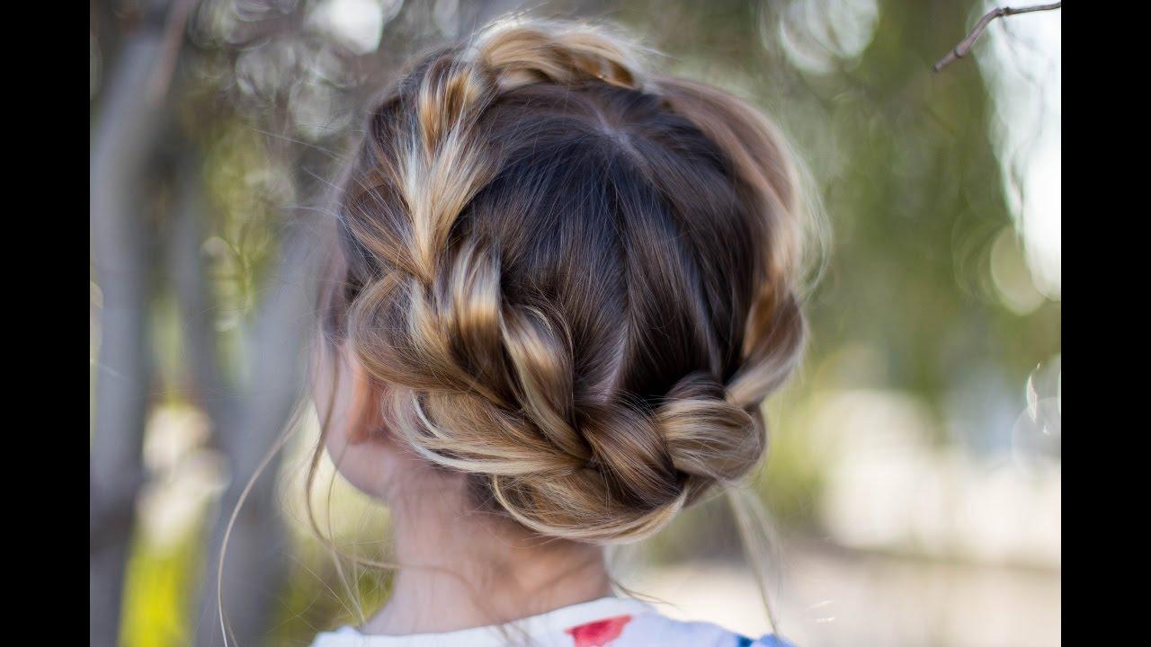 Pull Thru Crown Braid Updo Cute Girls Hairstyles Youtube