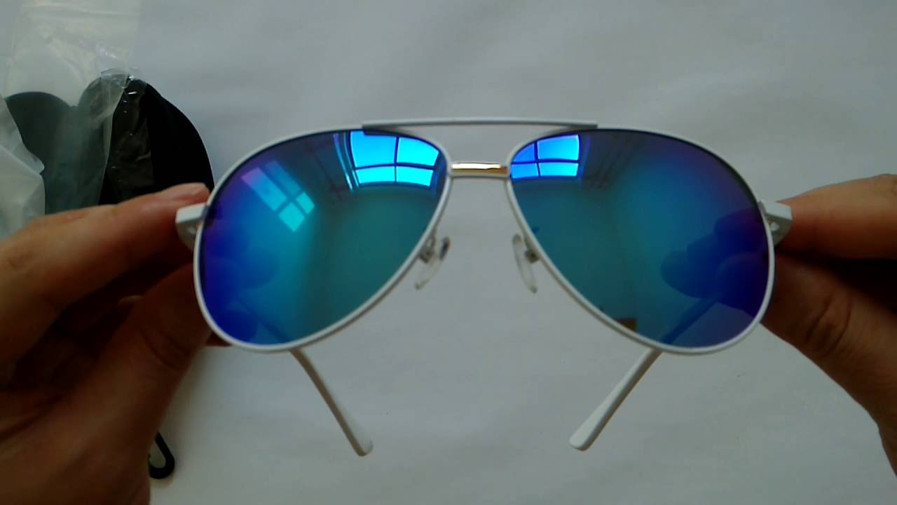 cca918972df9 Polarized Pilot Sunglasses White Metal Frame Ice Blue Lens - YouTube