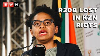 Acting Minister in the Presidency Khumbudzo Ntshavheni briefed the media on 20 July 2021 on government interventions following riots and looting in part of KwaZulu-Natal and Gauteng. She said KZN GDP lost R20 billion following the violence.  #FreeZuma #LootingInSA #SAIsBurning