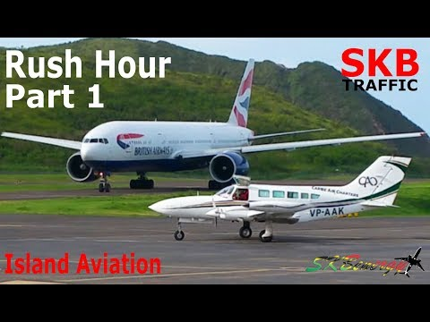 Rush Hour Traffic Part 1 - AA 738, BA 777, Islander, Piper Lance II, King Air A100...@ St. Kitts