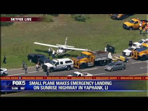 Plane lands on Long Island highway