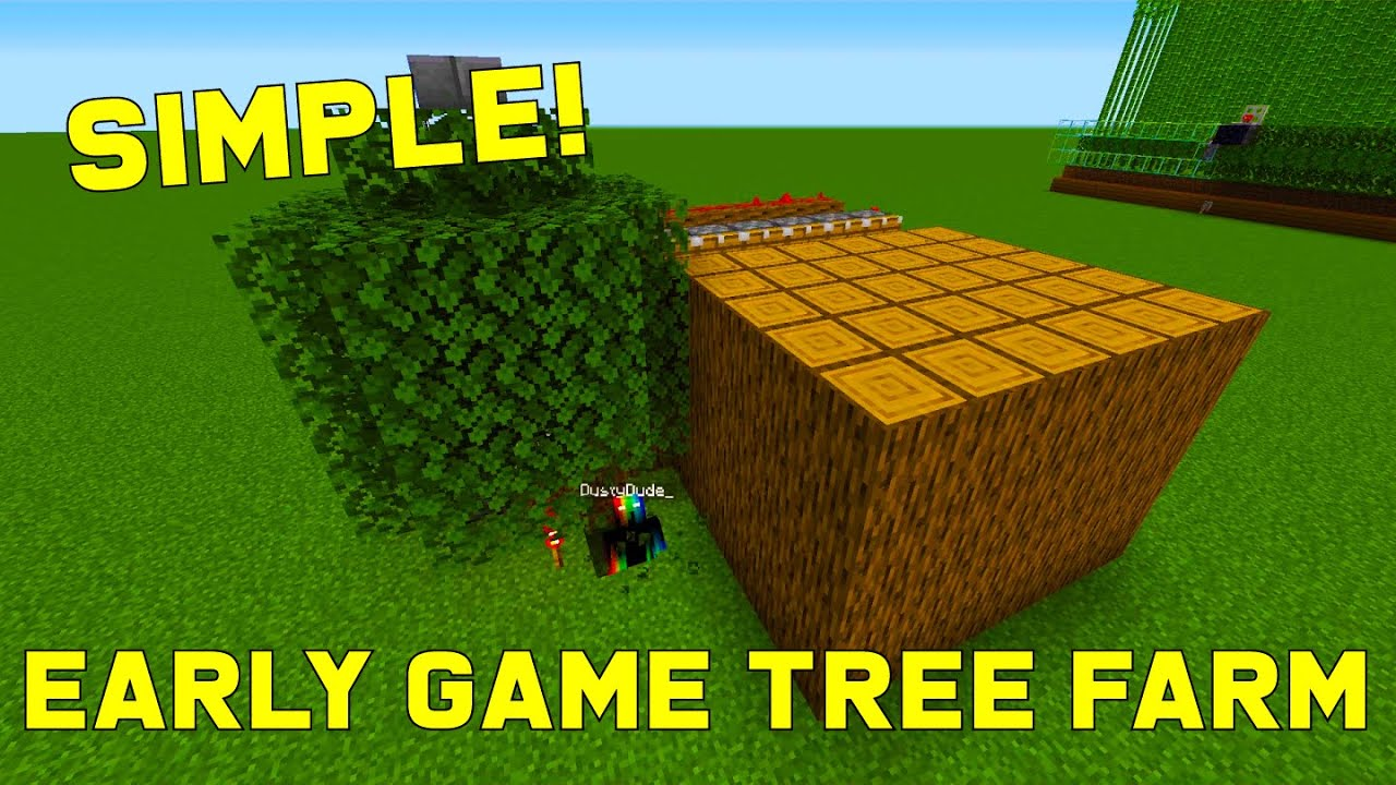 Easy Early Game Tree Farm Logs And Wood 1 16 Best Easy Minecraft Farms Youtube