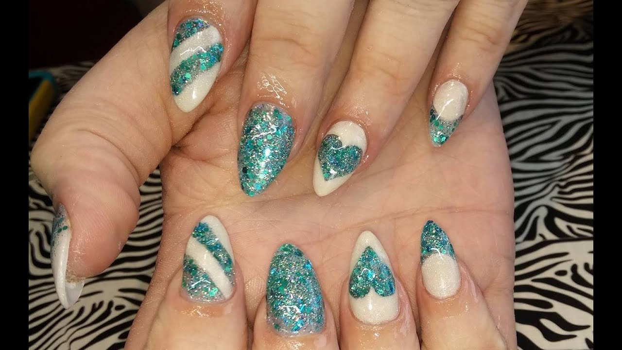 Acrylic Nails l Teal & White Anniversary l Nail Design - Acrylic Nails L Teal & White Anniversary L Nail Design - YouTube