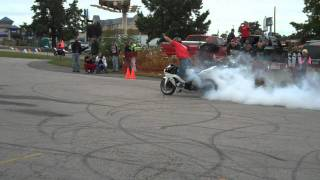 Street Bike Stunt Burnout Contest - Ride of the Century 2011 - St Charles, Missouri