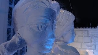 Disney's Frozen Ice sculptures Making of 5 day's before opening