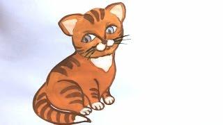 Уроки рисования. Как нарисовать кошку красками, поэтапно! How to draw a cat(Скачайте видео урок